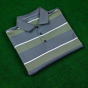 Nike Golf DRI-FIT Grey w/ Neon Stripes Polo